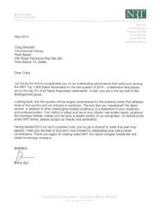 NRT Sales Recognition